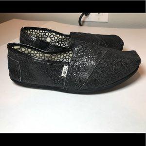 TOMS Black Sparkly Women's 11 canvas shoes